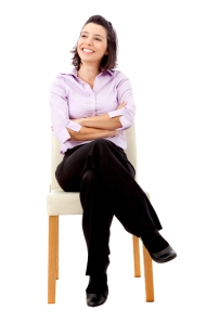 business woman sitting on a chair